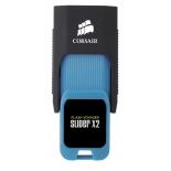 usb-флешка Corsair Voyager Slider X2 CMFSL3X2, черный/голубой