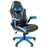 игровое компьютерное кресло Chairman game 15, черное/голубое