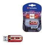 usb-флешка Verbatim Store n Go  Mini Cassette Edition 49398 16Gb, красная/рисунок