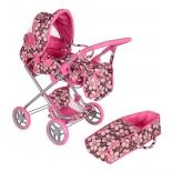 транспорт для кукол Коляска-трансформер Melobo 9333. коричневая/розовая/цветы