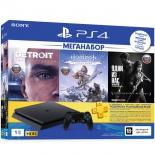 игровая приставка Sony PlayStation 4 Slim 1Tb (СUH-2208B), черная +Detroit+HZD+Одни из нас