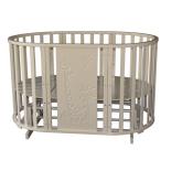 детская кроватка Антел Северянка 3 - Жираф  6 в 1 маятник поперечного качания/колесо (сл. кость)