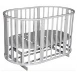 детская кроватка Антел Северянка 3 поперечный маятник+колесо, белая