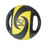 медицинбол Original Fit.Tools FT-DHMB-05 с хватами, 5 кг черный с желтым