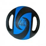 медицинбол Original FitTools FT-DHMB-04 с хватами, 4 кг, черный с голубым