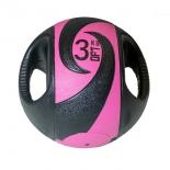 медицинбол Original FitTools FT-DHMB-03 с хватами, 3 кг, черный с розовым