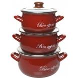 набор посуды для готовки Interos 2234 , кастрюль эмалированных  3-х предметный, бордо