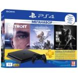 игровая приставка Sony PlayStation 4 Slim 1Tb (CUH-2208B), чёрная + игры Horizon Zero Dawn, Detroit и The Last Of Us; PS Plus на 3 месяца
