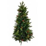 Новогодняя елка Christmas (6108-YR010B) 2.1 м с шишками и рябиной, купить за 8 680руб.