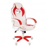 игровое компьютерное кресло Chairman game 16, белое с красным