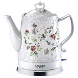 чайник электрический DELTA LUX DL-1239 корпус из фарфора, Цветы