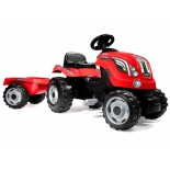 педальная машина Smoby Трактор XL с прицепом 142x44x54.5 см, красный