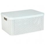 корзина для белья Curver 03618-885 Rattan Style Box M, кремовая