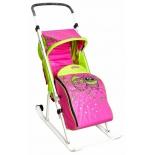 Санки-коляска Тяни-Толкай трансформер Совы розовый/салатовый, купить за 2 670руб.
