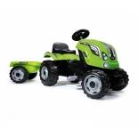 педальная машина Smoby Трактор педальный XL с прицепом Smoby 142x44x54.5 см, зеленый