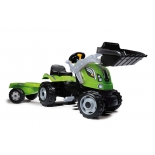 педальная машина Smoby Трактор строительный с прицепом