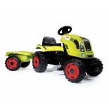 педальная машина Smoby Трактор педальный XL с прицепом Claas Smoby 142x44x54.5 см, салатовый