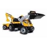 педальная машина Smoby Трактор строительный с 2-мя ковшами и прицепом, 182х44х66 см