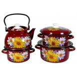 Набор посуды для готовки КМЗ Георгины цветной, 4 предмета, купить за 2 340руб.