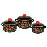 набор посуды для готовки СтальЭмаль 408 Букет тюльпанов черный