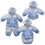 одежда для новорожденных комбинезон-трансформер Золотой гусь Зимушка, принт (рост 74), голубой