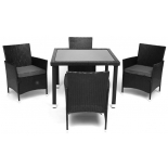 комплект садовой мебели TetChair (стол+4стула) (mod. 210036), пластиковый ротанг, стекло, черный/серый