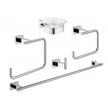 набор аксессуаров для ванной комнаты Grohe 40758001 Essentials Cube (5 предметов), хром (40758001)