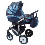 коляска Alis Mateo Lux 2 в 1 ML 08, синяя+цветочный микс