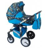 коляска Alis Mateo Lux 2 в 1 ML 04, голубая+цветочный микс
