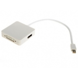 кабель (шнур) VCOM CG554 (Mini DisplayPort — HDMI + DVI-I DL + DisplayPort, M/FFF), белый