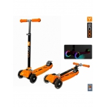 самокат Y-Scoo Maxi City RT Shine Gagarin (светящиеся колёса) оранжевый