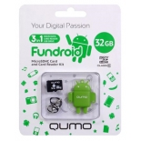 карта памяти Qumo microSDHC class 10 32GB + Fundroid USB Card Reader Green
