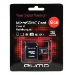 карта памяти Qumo microSDHC class 10 8GB + SD adapter