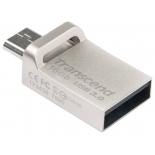 usb-флешка Transcend JetFlash 880S USB3.0/USB micro-B OTG 16Gb (RTL), серебристая