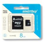 карта памяти SmartBuy microSDHC Class 4 8GB (с адаптером)