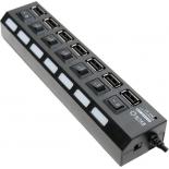 USB-концентратор 5bites HB27-203PBK, блок питания, черный
