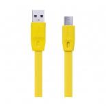 кабель / переходник Remax Full Speed Fast Charging Lightning-USB (M-M, плоский, 1 м), желтый