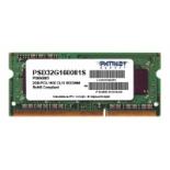 модуль памяти DDR3 2Gb 1600MHz, Patriot PSD32G160081S RTL PC3-12800 SO-DIMM 204-pin