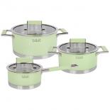 набор посуды TalleR (нержавейка) TR-7170 зеленый