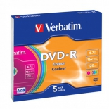 Оптический диск Verbatim DVD-R 4.7 Gb, 16x, Slim Case, Color (5шт)