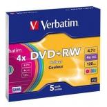 Оптический диск Verbatim DVD+RW 4.7 Gb, 4x, Slim Case, Color (5шт)