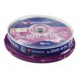 Оптический диск Verbatim DVD+R 8.5 Gb, 8x, Cake Box, Double Layer  (10шт)