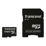 карта памяти Transcend microSDXC 64Gb Class 10 + microSD-->SD Adapter