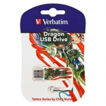 usb-флешка Verbatim 16Gb Mini Tattoo Dragon 49888 USB2.0, белая/узор