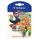 usb-флешка Verbatim 16Gb Store n Go Mini Tattoo Edition Phoenix 49887 USB2.0, белая/узор