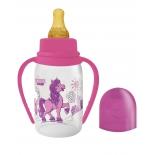 бутылка Lubby (с соской) веселые животные, розовый
