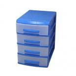 контейнер для хранения органайзер Росcпласт (мини), 4 ящика, голубой/прозрачный