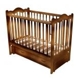 детская кроватка Счастливый малыш Дюймовочка (с маятником и ящиком) Орех с оттенением