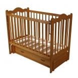 детская кроватка Счастливый малыш Дюймовочка (с маятником и ящиком) Светлый орех