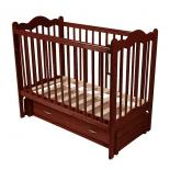 детская кроватка Счастливый малыш Дюймовочка (продольный маятник) темный орех